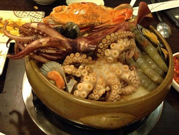 朴山傳統韓國料理店@可無限續碗的人蔘粥+海苔 還有好霸氣的海鮮鍋