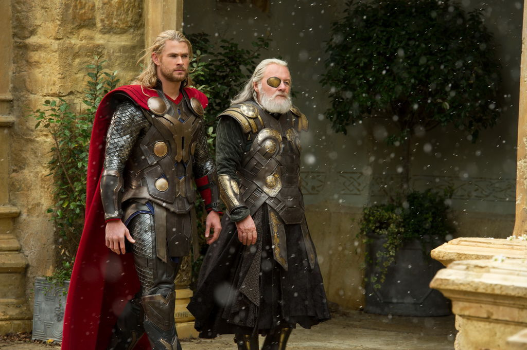 Thor (Chris Hemsworth) and Odin (Sir Anthony Hopkins)Ph: Jay Maidment© 2013 MVLFFLLC. TM & © 2013 Marvel. All Rights Reserved. Read more: 'Thor: The Dark World' Fun Facts - Disney News by StitchKingdom.com StitchKingdom.com - The #1 unofficial source for news on Disney