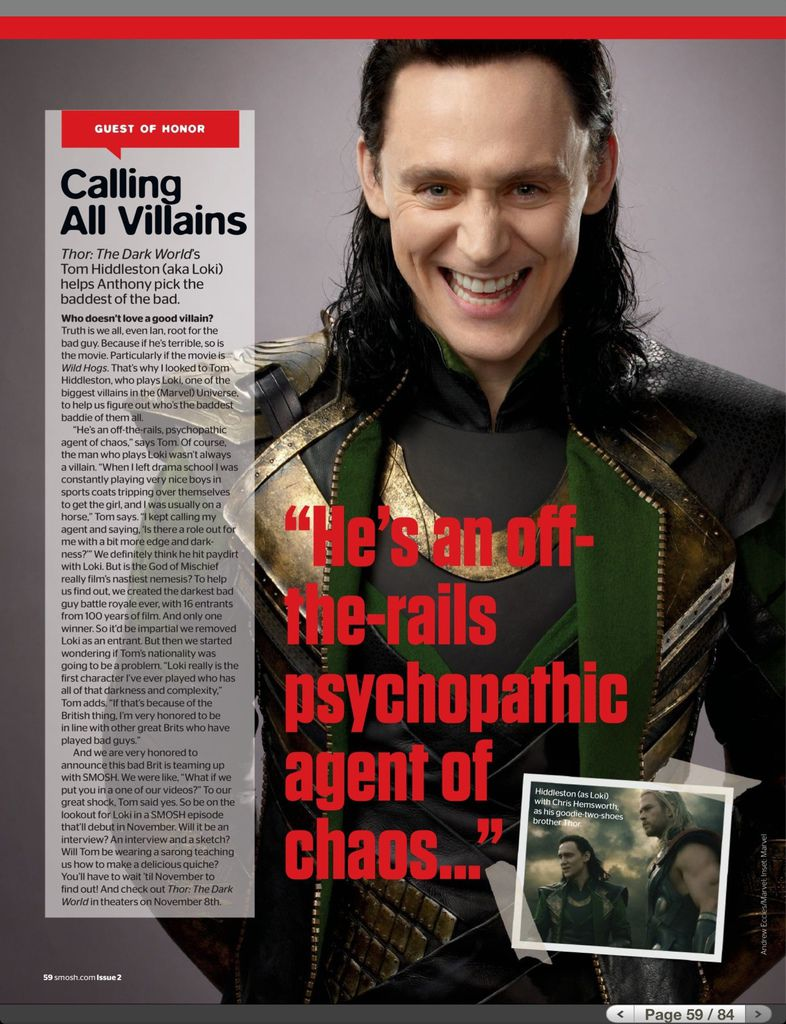 Tom Hiddleston in Smosh Magazine Issue 2