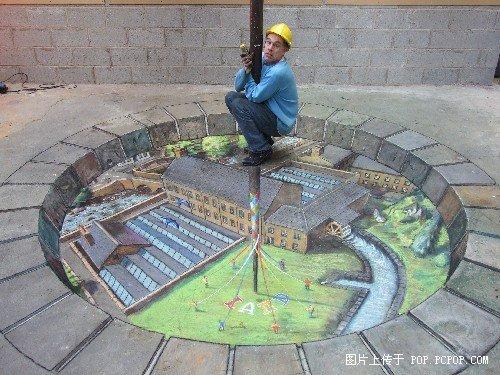 超逼真的地上3D油畫