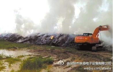 昌平區沙河鎮七里渠三元綠荷奶牛場內草料堆被雷擊中起火。