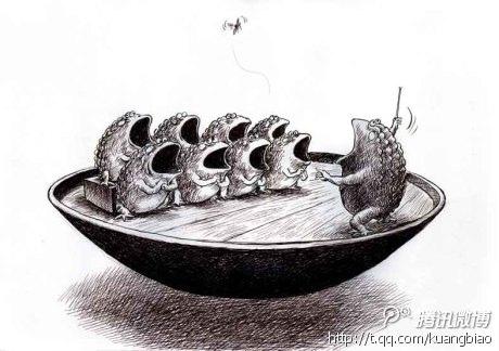圖為2012年11月22日,《南方都市報》的美術編輯、職業漫畫撰稿人鄺飆在自己的騰訊博客發了一幅新作,名字叫《同一首歌》的漫畫。(網絡圖片)