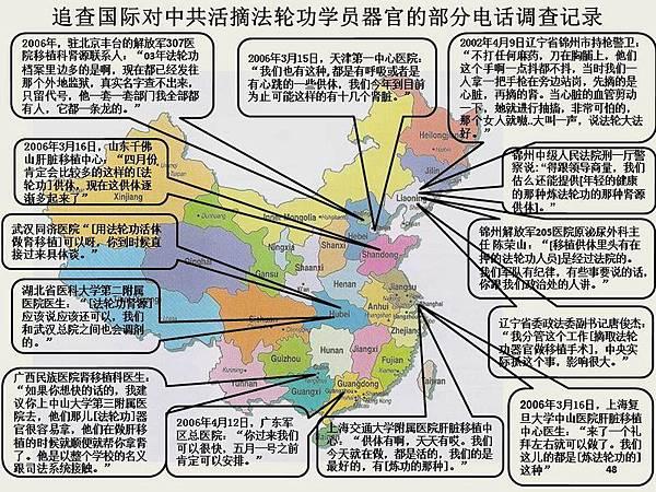 追查國際組織獲得證據可以證明,涉嫌參與活摘罪惡的至少有23個省市自治區相關醫院和器官移植中心:北京、天津、上海、河北、河南、山東、遼寧、吉林、黑龍江、安徽、湖南、湖北,江蘇、浙 江、廣州、廣西、福建、四川、雲南、貴州、陝西、甘肅、新疆等。(大紀元資料室圖片)