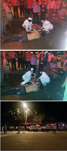 9月17日凌晨2時,廣西桂林市象山區政府門口,20餘名城管毆打一名男子導致其重傷昏迷,現場上百人圍堵並欲圍毆參與打人城管,隨後打人城管和車輛在警察保護下逃離。