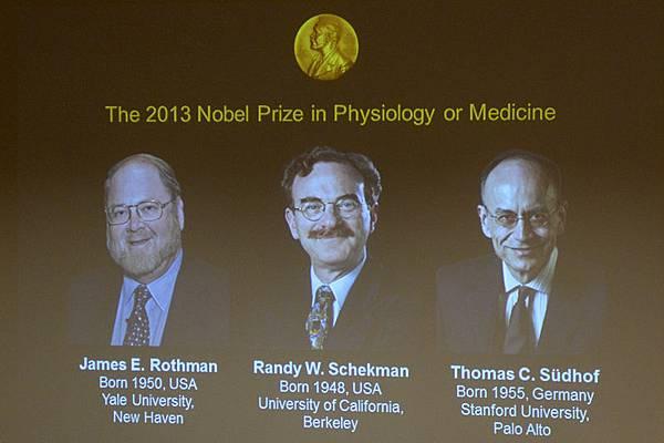 美德三名科學家分享2013諾貝爾生理學或醫學獎