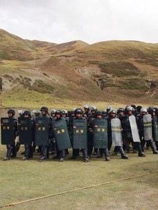 中共武警在達塘鄉境內。(自由亞洲電台)