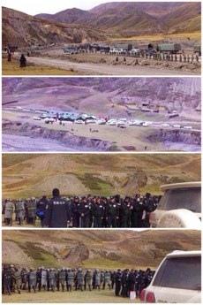 中共軍於10月6日向和平示威的比如縣達塘鄉藏民進行開槍鎮壓。(自由亞洲電台)