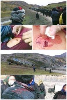 10月6日,中共軍警開槍鎮壓場景及受槍傷的達塘鄉藏民。(自由亞洲電台)