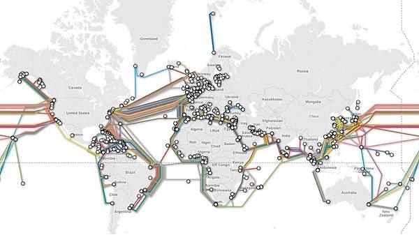 實現全球網絡覆蓋鏈接的海底電纜(網絡圖片)
