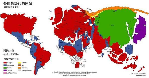 各國最熱門的網站——以網民數量衡量(網絡圖片) 西方最受歡迎的網站谷歌(紅色)與臉書(藍色)等與大陸網民無緣。