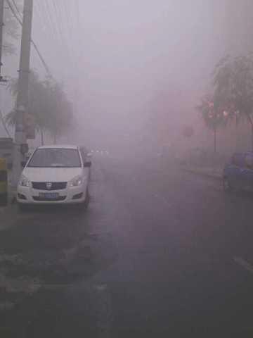 2013年10月21日,哈爾賓霧霾嚴重,能見度極低,市民出行困難。(網絡圖片)