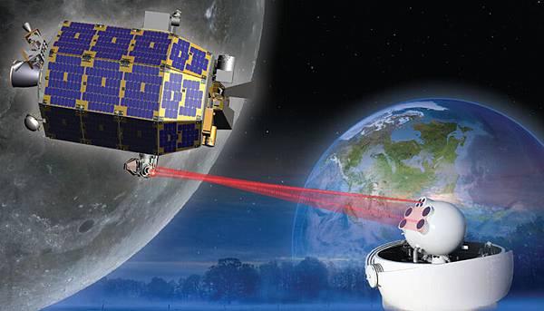 LADEE飛船與地球激光通信藝術概念圖(NASA)