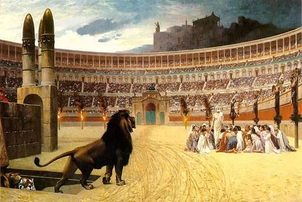 《基督殉道者最後的祈禱》(The Christian Martyrs Last Prayer),描述了古羅馬殘酷迫害基督教徒的情景:競技場周圍的柱子上,左邊是遭受火刑的基督徒,右邊是十字架處死的基督徒,中間一群基督徒則將被猛獸撕碎,而看臺上無數的民眾毫無同情心的觀看著這慘烈的情景。(明慧網)