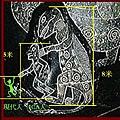 在這個伊卡石刻上,可以看出恐龍與當時的人類和現代人的比例。(網絡圖片)