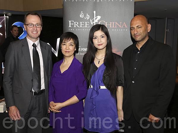 從左至右:澳洲紐省綠黨立法委員胥布瑞傑(David Shoebridge),曾錚(Jennifer Zeng), 美樂蒂.曹(Meladie Cao),導演麥爾克•麥亨納(Michael Perlman)。(攝影:鄧皓/大紀元)