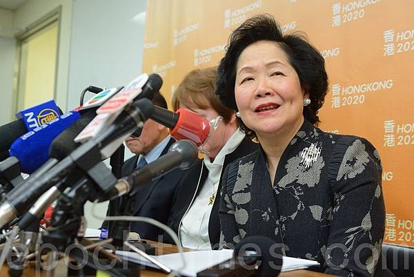 """香港2020召集人陳方安生表示,表示非常認同李嘉誠""""香港不能人治""""的說法,又笑言梁振英應該留意到自己民望低,要有自知之明。(宋祥龍/大紀元)"""