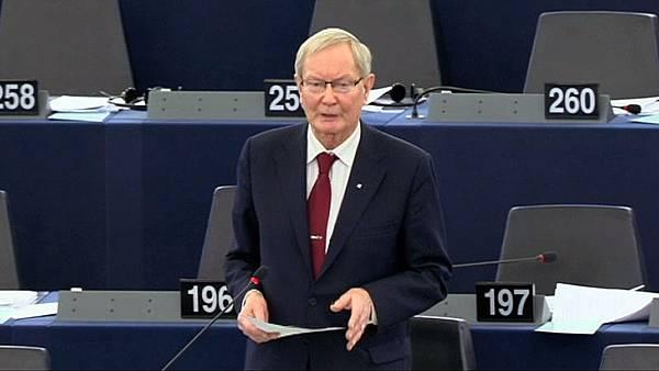 歐洲議會最大黨基督教民主黨資深議員克蘭先生 ( Tunne Kelam )在辯論會上發言(歐洲議會網站提供)