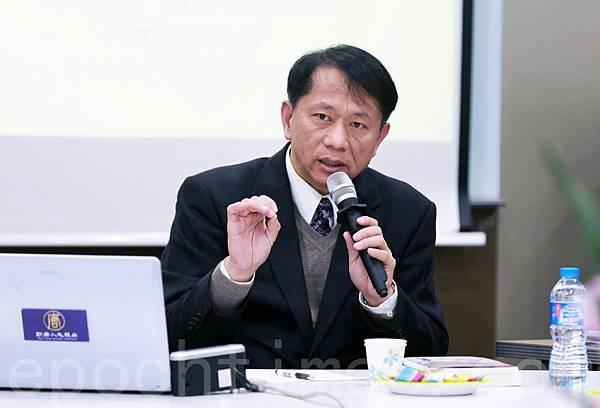 美國南卡羅萊納大學艾肯商學院教授謝田,在韓國首爾「透視中國真相」系列座談會上發表演講。(全宇/大紀元)