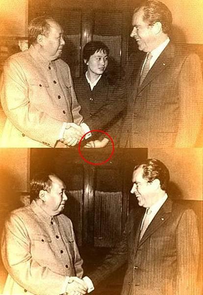 老淫獸毛澤東原形畢露,但在新華社隨後刊出的照片中,張玉鳳的形象被刪去。