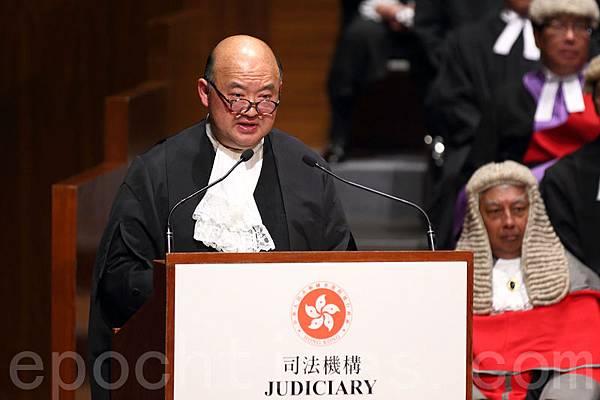 終審法院首席法官馬道立,重申《基本法》賦予本港三權分立,又強調法院判案只會考慮法律原則。(潘在殊/大紀元)