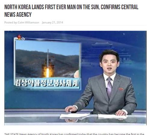 戲謔媒體Waterford Whispers News日前發布惡搞新聞稱,朝鮮太空人成功登陸太陽,還帶回太陽黑子當「土產」獻  給金正恩當禮物。圖為朝鮮中央通信社的主播。(Waterford Whispers News網頁擷圖)