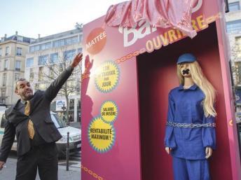 法國勞工團體推出特製公仔為中國勞工發聲
