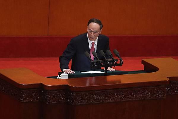 1月28日,王歧山在中紀委三次全會工作報告時的強調追懲外逃的貪官。(Getty Images)