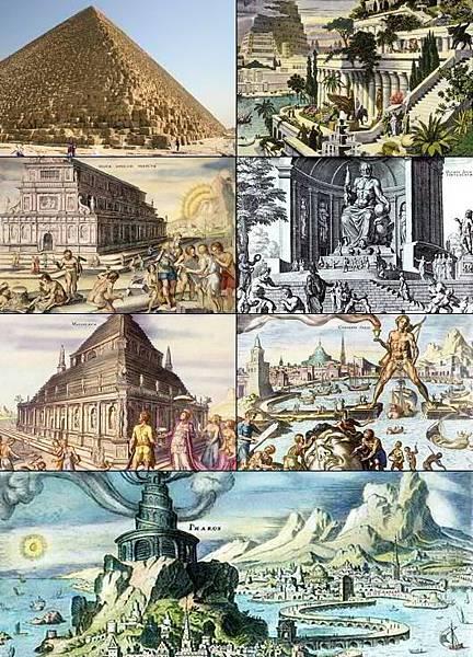 古代世界七大奇蹟,由左至右,由上至下,分別為吉薩大金字塔、空中花園、阿耳忒彌斯神廟、宙斯神像、摩索  拉斯王陵墓、羅得島太陽神銅像及亞歷山大燈塔wikipedia.org