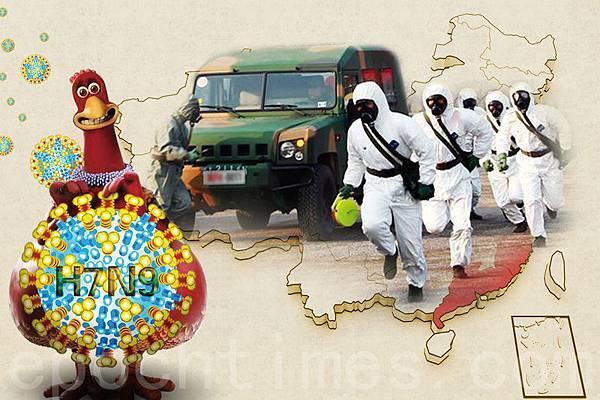 中國大陸H7N9疫情持續擴散,北京市知情民眾向大紀元披露,現在禽流感疫情嚴重甚至超過SARS,而軍隊已作好  準備,一旦疫情失控會隨時介入。(大紀元合成圖片)