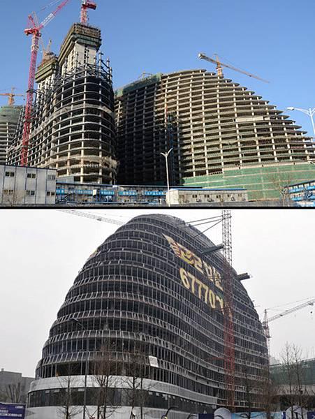 德國明鏡週刊報導,獲得普利茲克建築獎的女建築師扎哈.哈迪德(Zaha Hadid) 設計的望京SOHO被重慶美全22世  紀建設抄襲。圖為原版望京SOHO(上)和翻版SOHO(下)。(資料圖 / AFP)