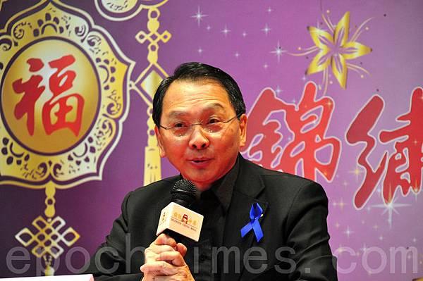 多倫多時事評論員江大惠在記者會上發言(周行。大紀元)
