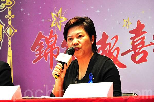 港加聯代表馮玉蘭在記者會上發言(周行。大紀元)
