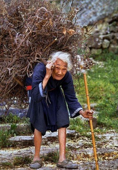 為了生活,這位老婆婆,用她幾乎沒有力量的身體在勞作。(網絡圖片)
