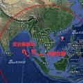 外媒:衛星數據披露失蹤馬航路線 被劫持可能性大增  馬航失聯客機被人為操縱飛過馬來半島 飛向安達曼群島圖為馬國搜索人員在標誌搜索路線。(AFP/Getty Images)