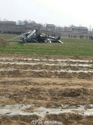 3月4日下午2點左右,一直昇飛機在陝西渭南市臨渭區固市鎮巴邑村農田墜落。(網絡圖片)