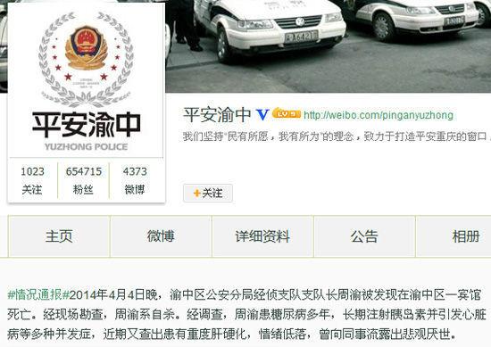 重慶警方說,周渝被發現在客房內上吊死亡,所以死亡結論為自殺。近期,連續發生中共央企高管或政府高官詭異死亡事件(網絡圖片)