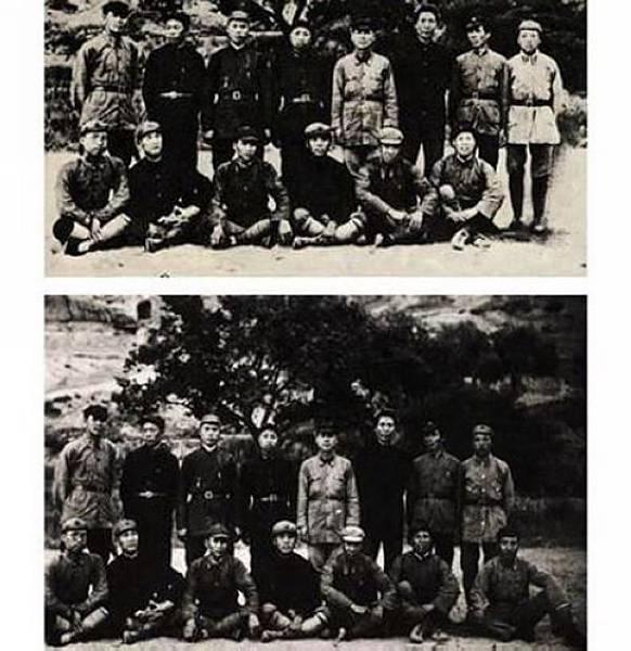 這張歷史照片中被刪掉的人是林彪。(網絡圖片)