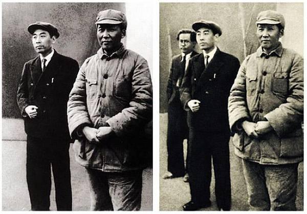 1940年周恩來從共產國際歸來時與任弼時、毛澤東合影。左圖修掉了任弼時,原因是後來任弼時遭到了批判。(網絡圖片  )