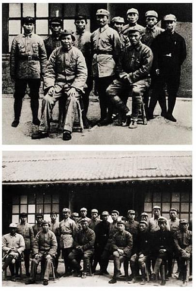 1937年,中共中央蘇區的戰友在紅軍大學裡與毛澤東、朱德合影。至1986年,中國大陸公開出版物上使用的仍是修改過的  照片(上圖)。下圖前排左起:聶鶴亭、毛澤東、朱德、林彪、何長工、周子昆、賴毅;後排左起:楊得志、梁軍、楊梅  生、陳賡、賀子珍、姚□、胡榮奎、蕭新槐、江華、譚家述、譚冠三、劉型、張際春。(網絡圖片)