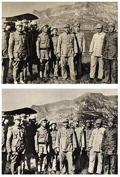 這張歷史照片中被刪掉的人是彭德懷。(網絡圖片)