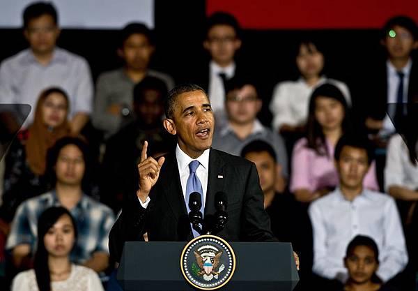 週日下午,奧巴馬在馬來西亞大學發表演說。 ( MANAN VATSYAYANA/AFP/Getty Images)