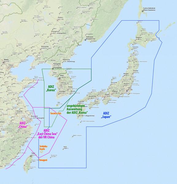 圖為中共去年自設的東海防空識別區。(維基百科)