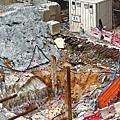 ■記者現場所見B4層有大塊花崗岩在旁,影響工程。