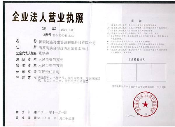 營業執照副本(張洪濤提供)