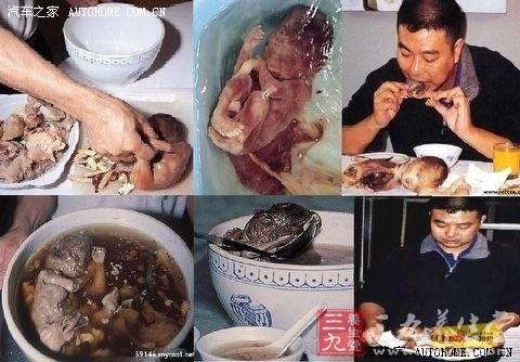 中國極其豐富的吃人肉傳統,到今天還沒有被禁絕,更有人服用女嬰加中國藥材熬成的嬰兒湯以壯陽。此事甚至已被寫進中國的中學教科書 1見 《綜合實踐活動一高中三年級》   二十一世紀出版社)      但鑒於中國自古以來吃人威風,難怪也有專家說 「當然用的是流產的嬰兒。這比當時吃兩腳羊 (中國舊時對被吃活人的委婉語)已經溫和多了。」  1見《大學生綜合素養導論》中國協和醫科大學出版社)