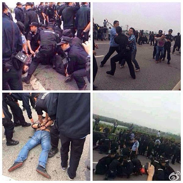 5月10日,浙江杭州市餘杭區中泰鄉逾3萬民眾上街示威,抗議當局興建亞洲最大的垃圾焚燒廠,遭到當局出動5千警力鎮壓。(網絡圖片)