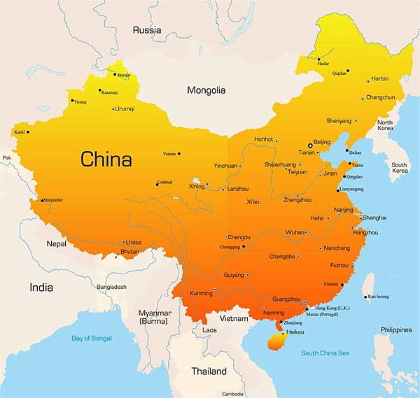 《華盛頓時報》5月15日報導,為了領土爭議,中共正在跟多個國家進行頻繁和緊張的武裝衝突。圖為中國地圖。(Ruslan Olinchuk/Fotolia)