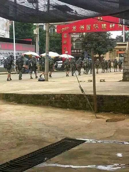 大批軍隊進駐廣西崇左市龍州縣(網絡圖片)