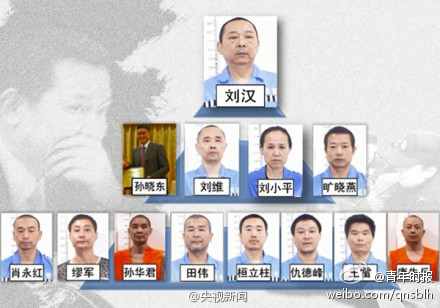 5月23日上午,咸寧市中級法院對劉漢、劉維等36人組織、領導、參加黑社會性質組織罪以及故意殺人罪等一審公開宣判,劉  漢、劉維一審被判處死刑。(網絡圖片)