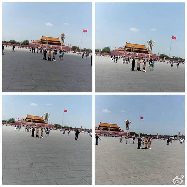 河南信陽市三位上訪無門的花甲老人近日在天安門廣場裸體抗議喊冤,引起網絡關注。(網絡圖片)